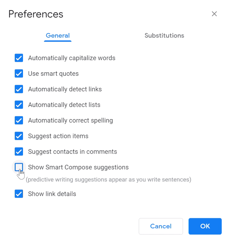 uncheck smart compose suggestions