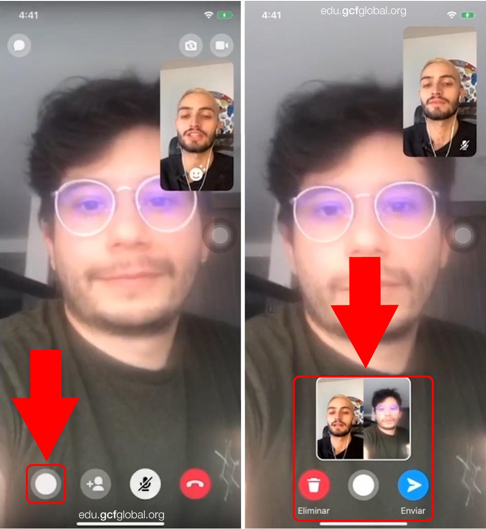 Imagen tomando captura de pantalla en la videollamada de Facebook Messenger.