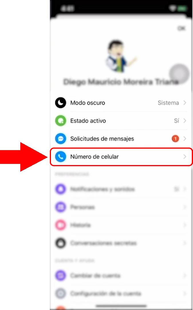 Opción Numero Celular en Facebook Messenger.