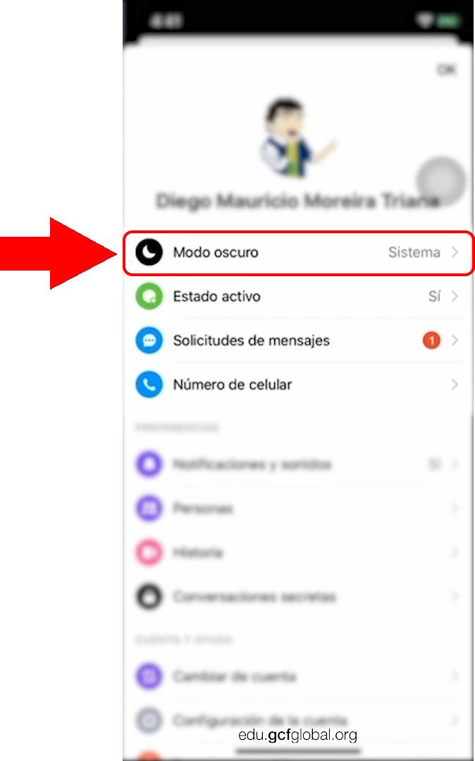 Opción Modo Oscuro en Facebook Messenger.