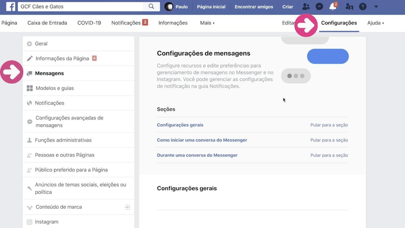 imagem1 como configurar respostas automáticas na sua página do Facebook