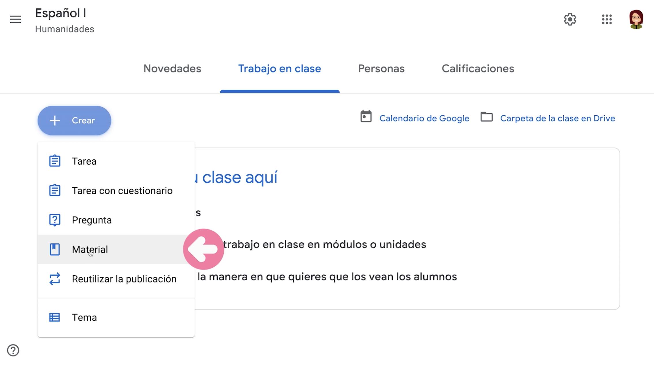 Hacer clic en opción Material para generar material de clase en Google Classroom