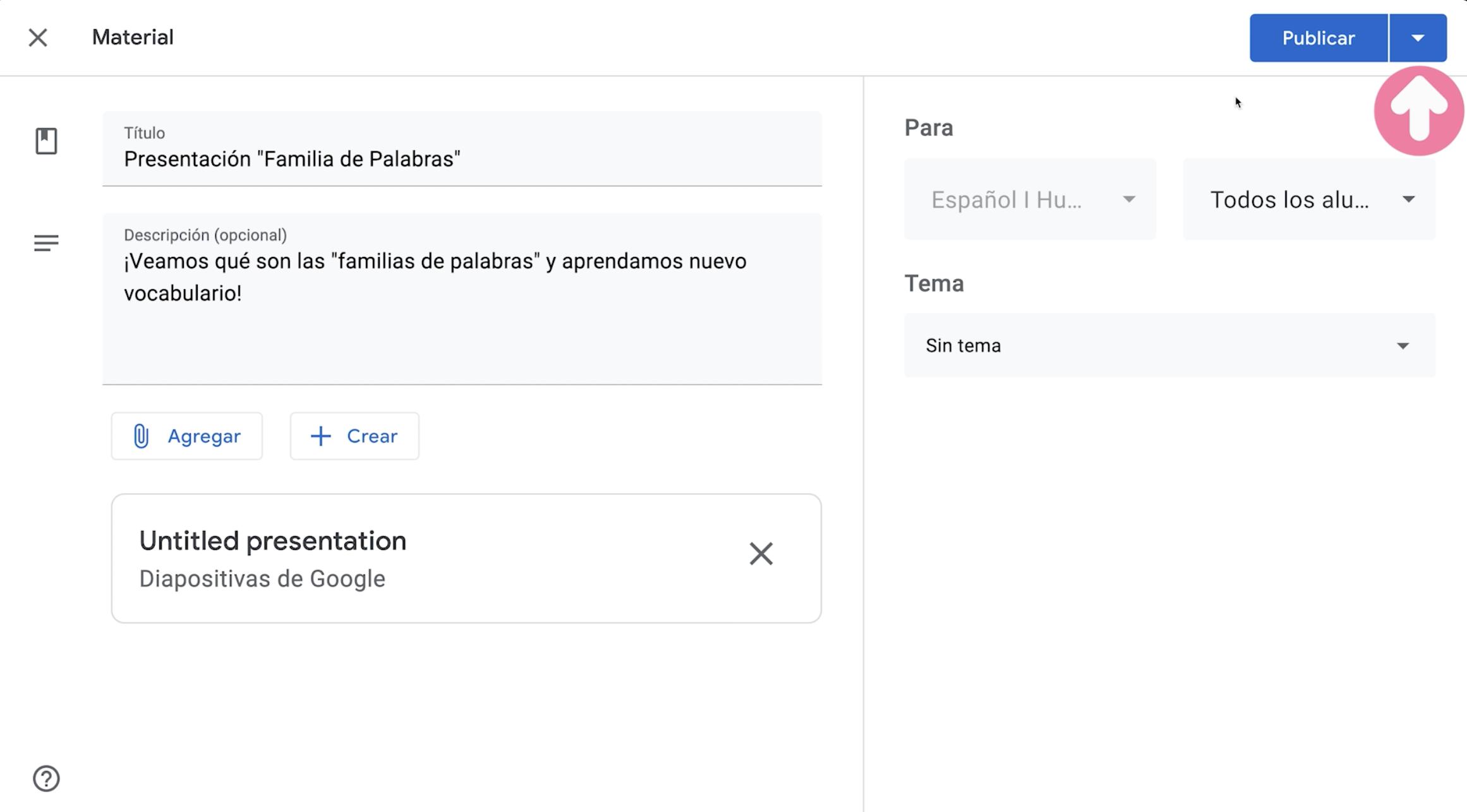 Publicar y editar tipo de publicación de material creado para clase en Google Classroom