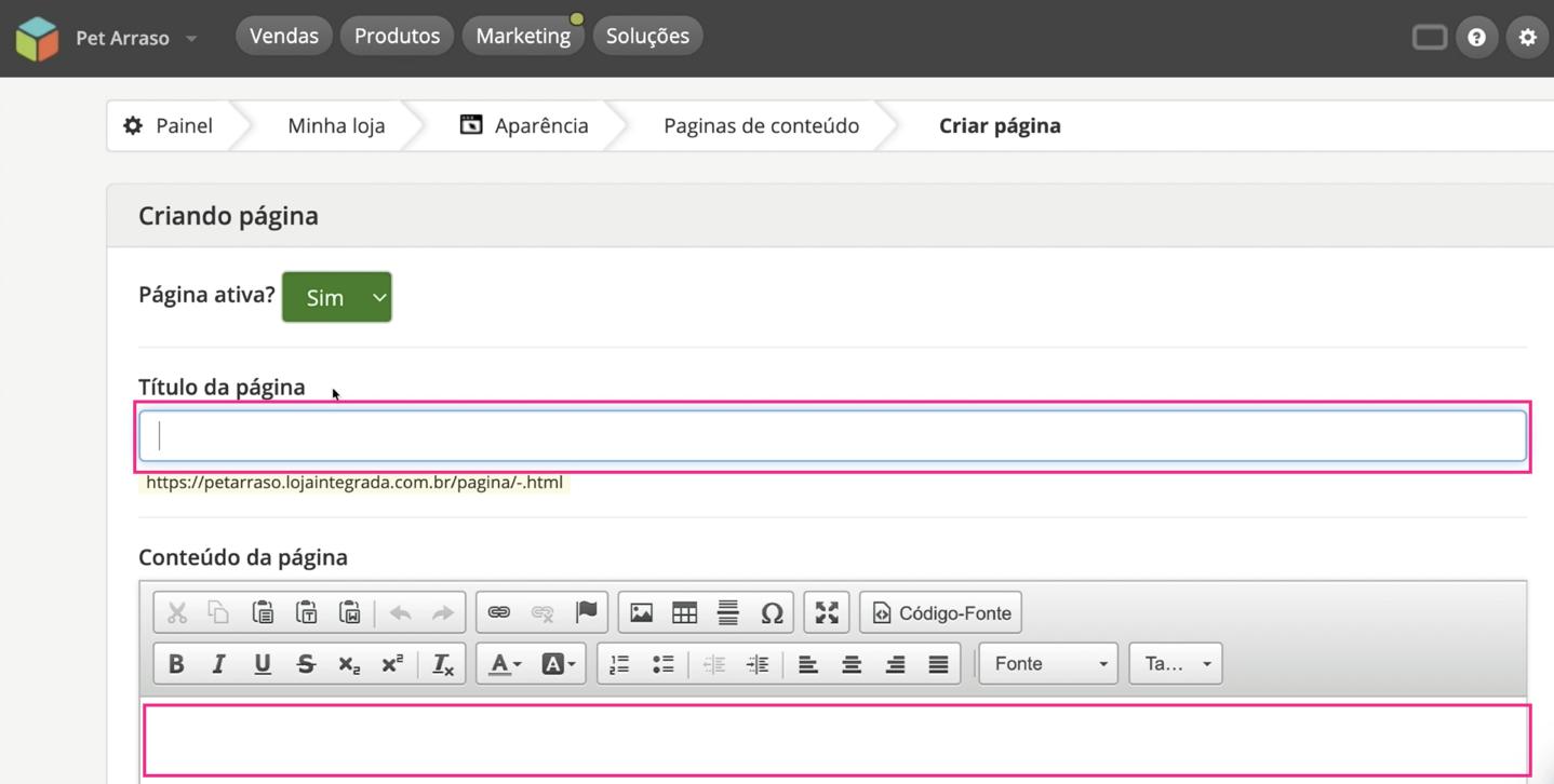 imagem3 criar páginas para sua loja virtual na loja integrada
