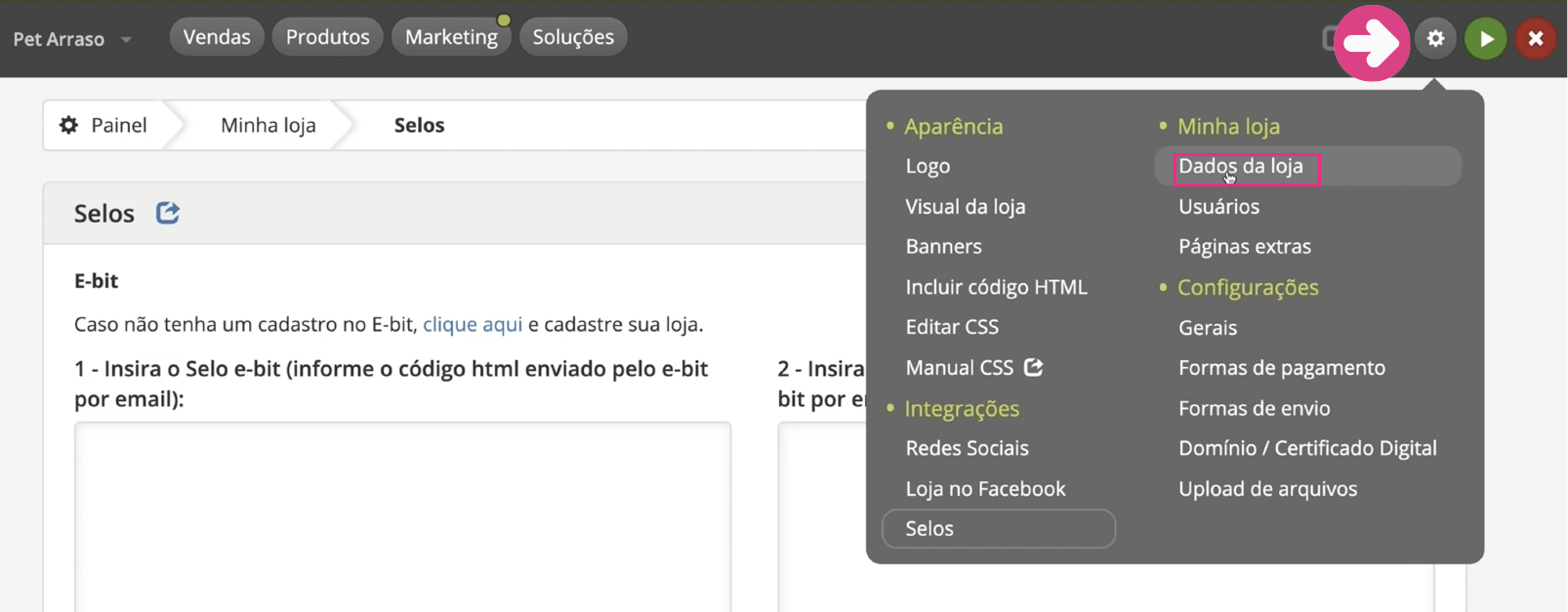 imagem1 configurar dados da sua loja virtual na loja integrada