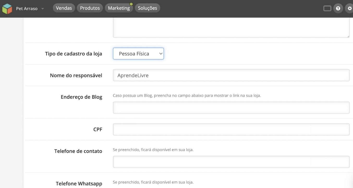 imagem4 configurar dados da sua loja virtual na loja integrada