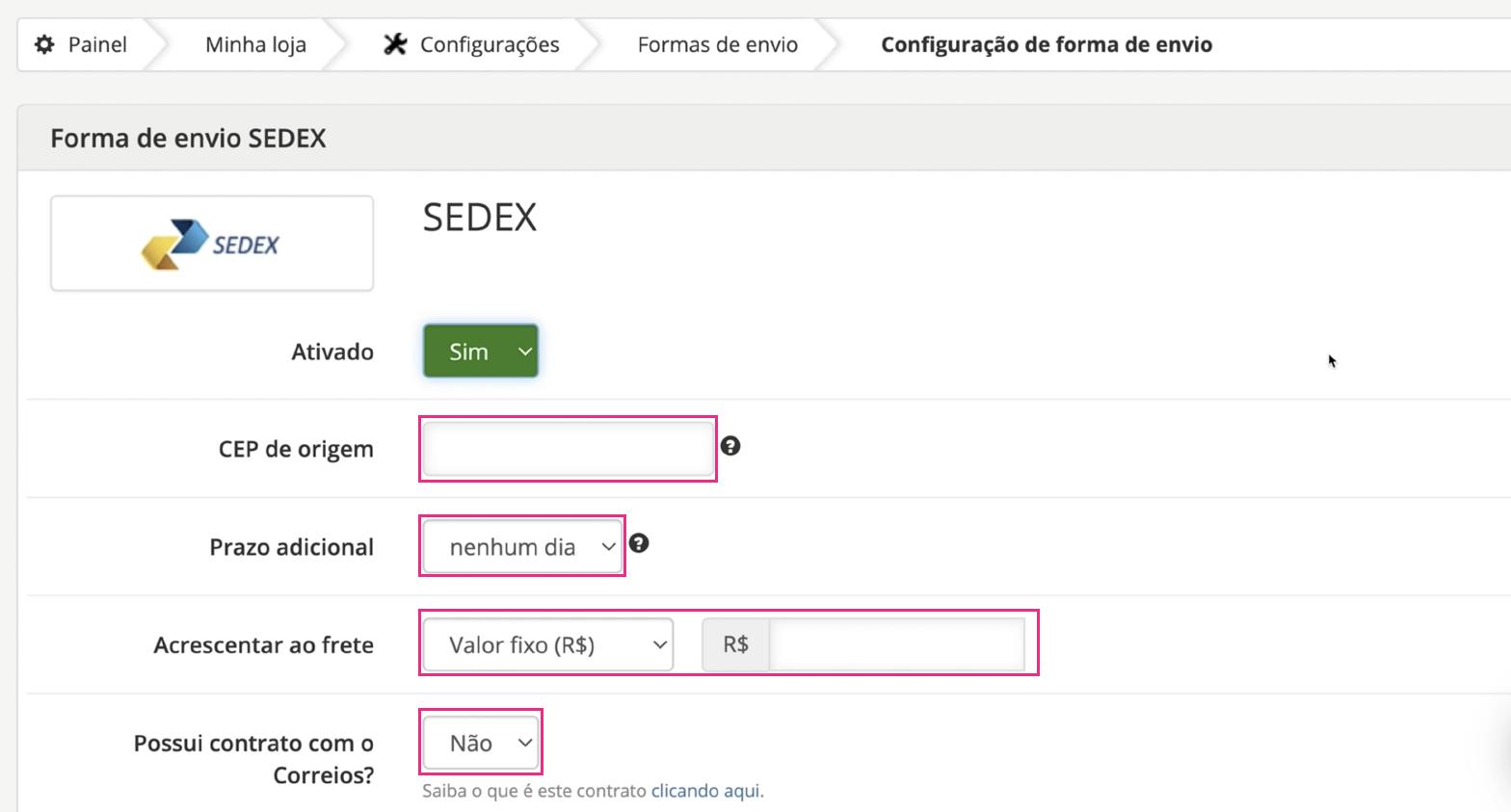 imagem4 como configurar formas de envio loja integrada
