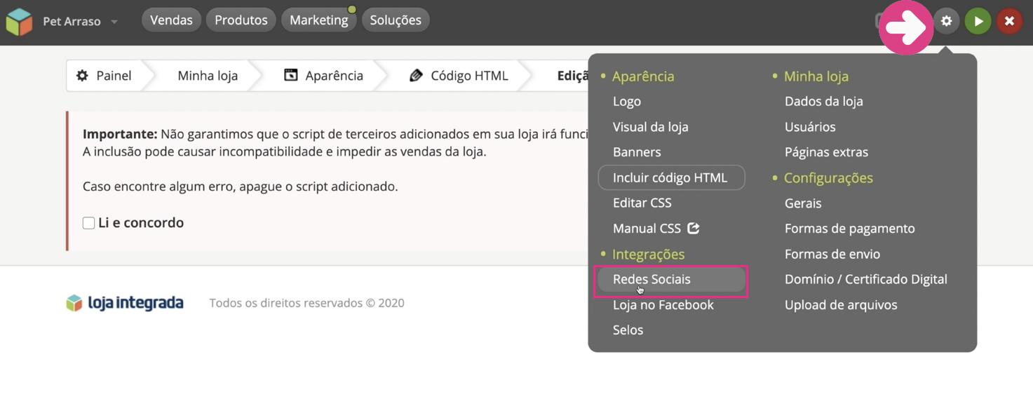 imagem1 configurar as redes sociais da sua loja virtual na loja integrada