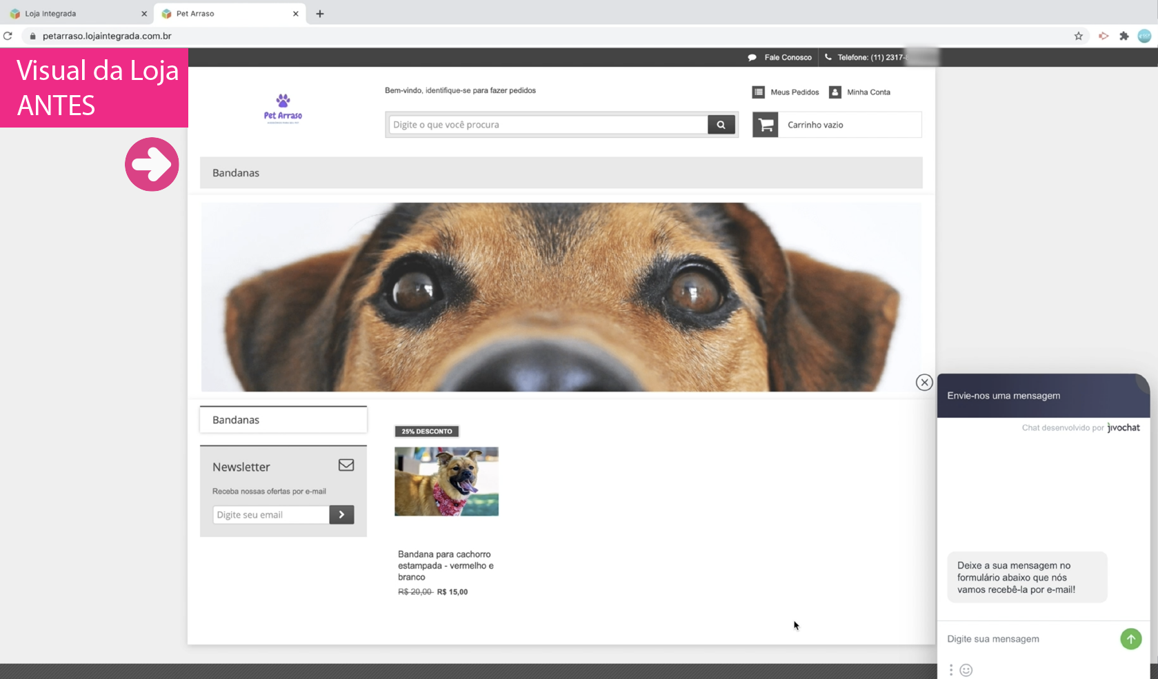 imagem1 visual da nossa loja virtual antes das mudanças de layout