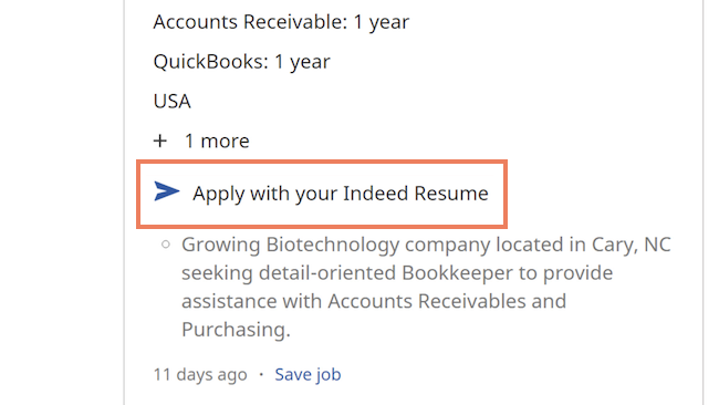 The feature Apply with your Indeed Resume is highlighted within a job opening.