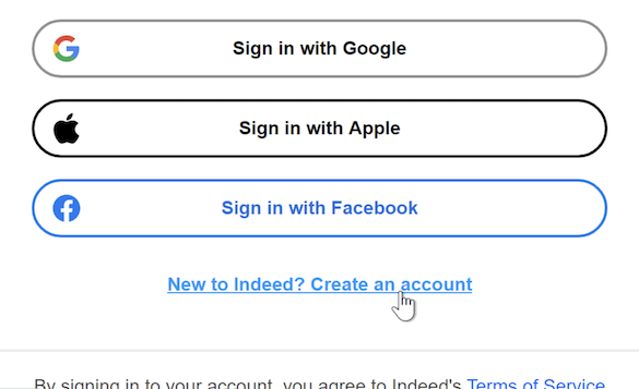 """A cursor clicks a link reading """"New to Indeed? Create an account."""""""