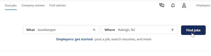 """On the Find Jobs screen, a cursor clicks the Find Jobs button. The search terms are """"bookkepper"""" and """"Raleigh, NC."""""""