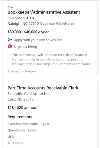 Two job openings in Indeed.