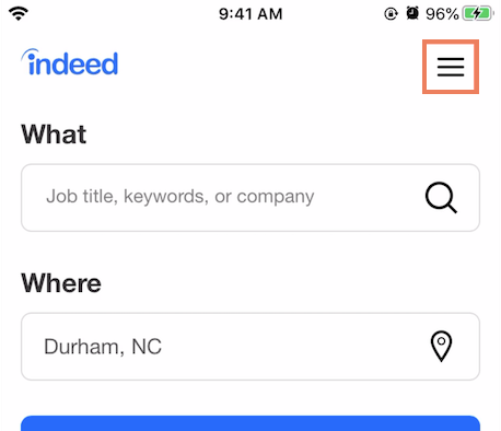 The menu button is highlighted in the top-right corner of the Indeed mobile app.
