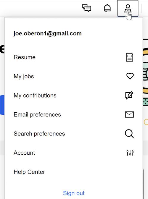 A cursor clicks the Profile icon, revealing the Profile menu.