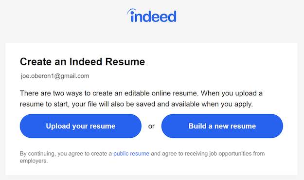 A window that asks whether you want to upload your resume, or build a new resume.