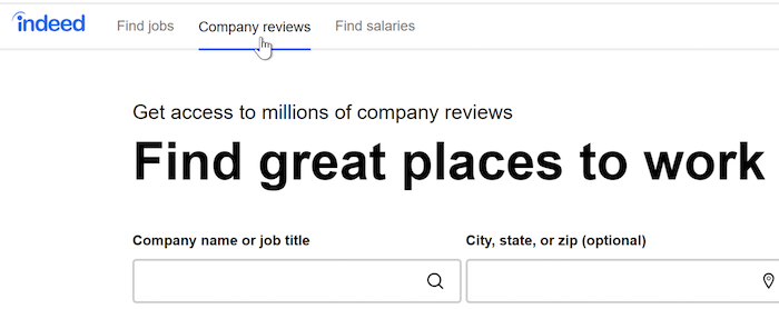 A cursor clicks the Company Reviews feature at the top of the browser window.