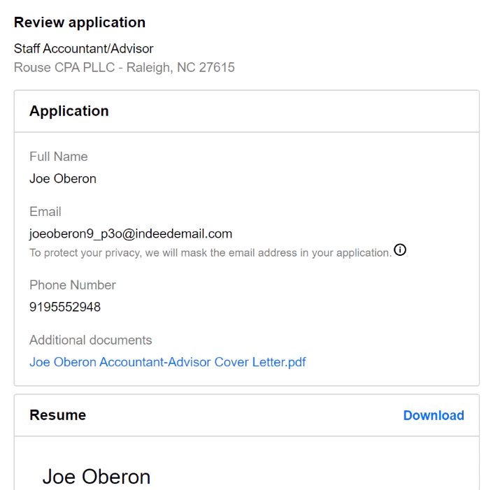 reviewing your application