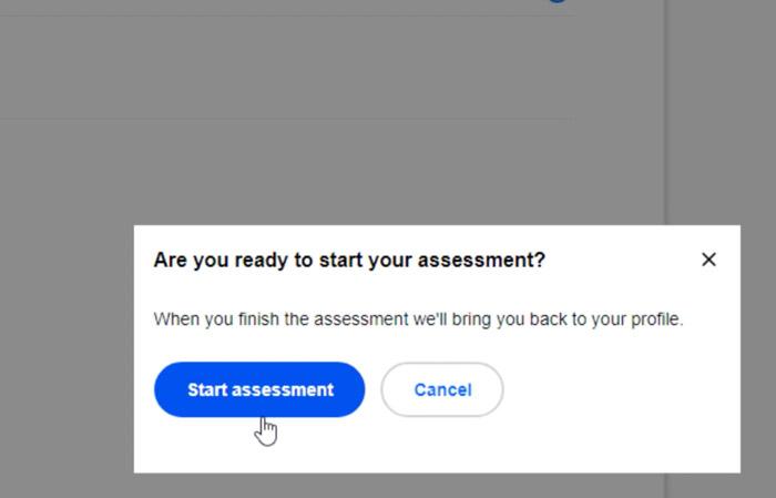 selecting start assessment button