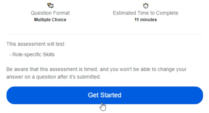 clicking assessment summary get started button