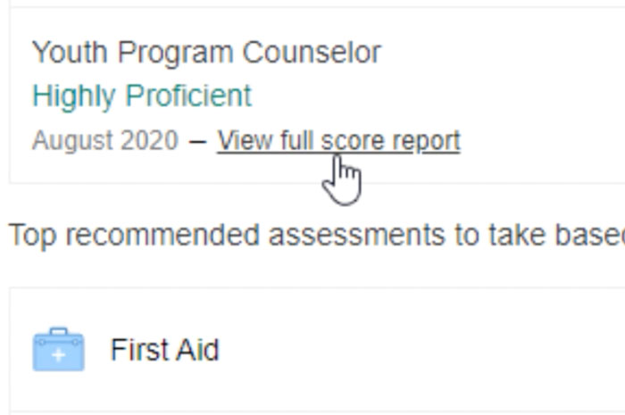 selecting view full score report button
