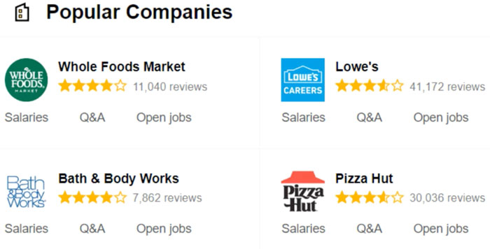 browsing popular companies