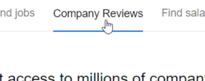 clicking company reviews button