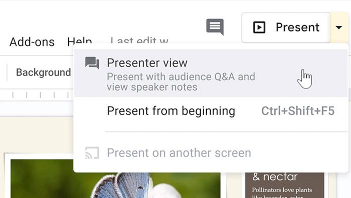 clicking presenter view