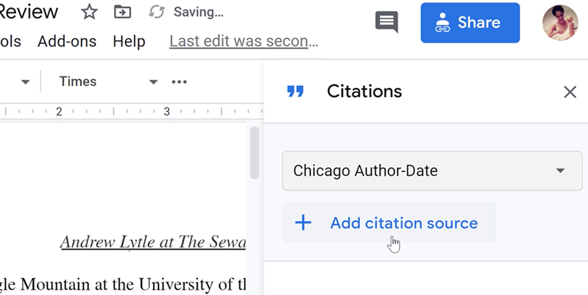 clicking add citation source button