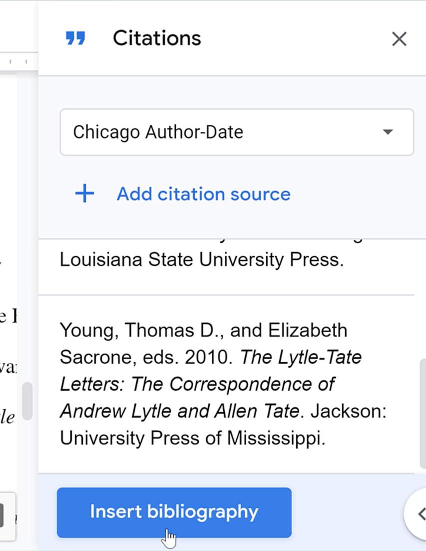 inserting bibliography
