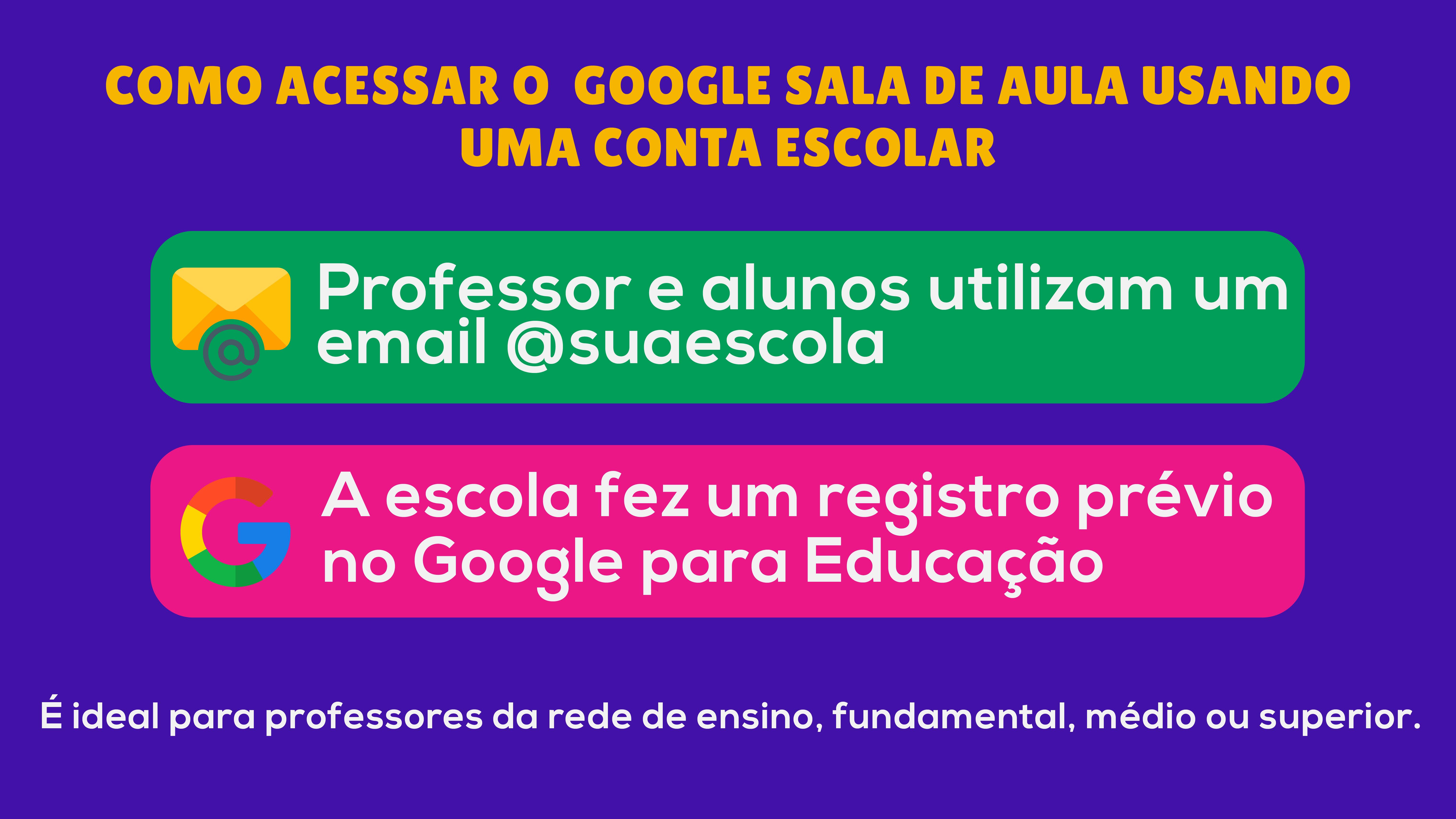 Como acessar o google sala de aula usando uma conta escolar