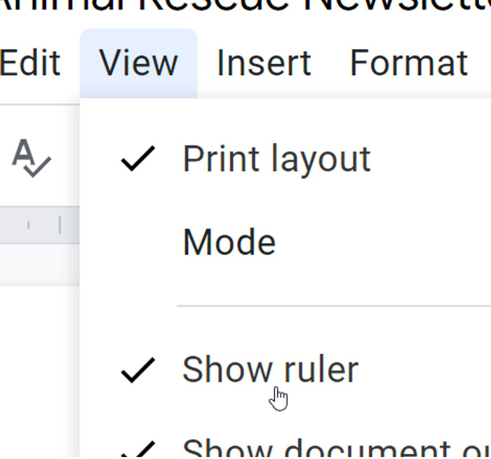 selecting show ruler button