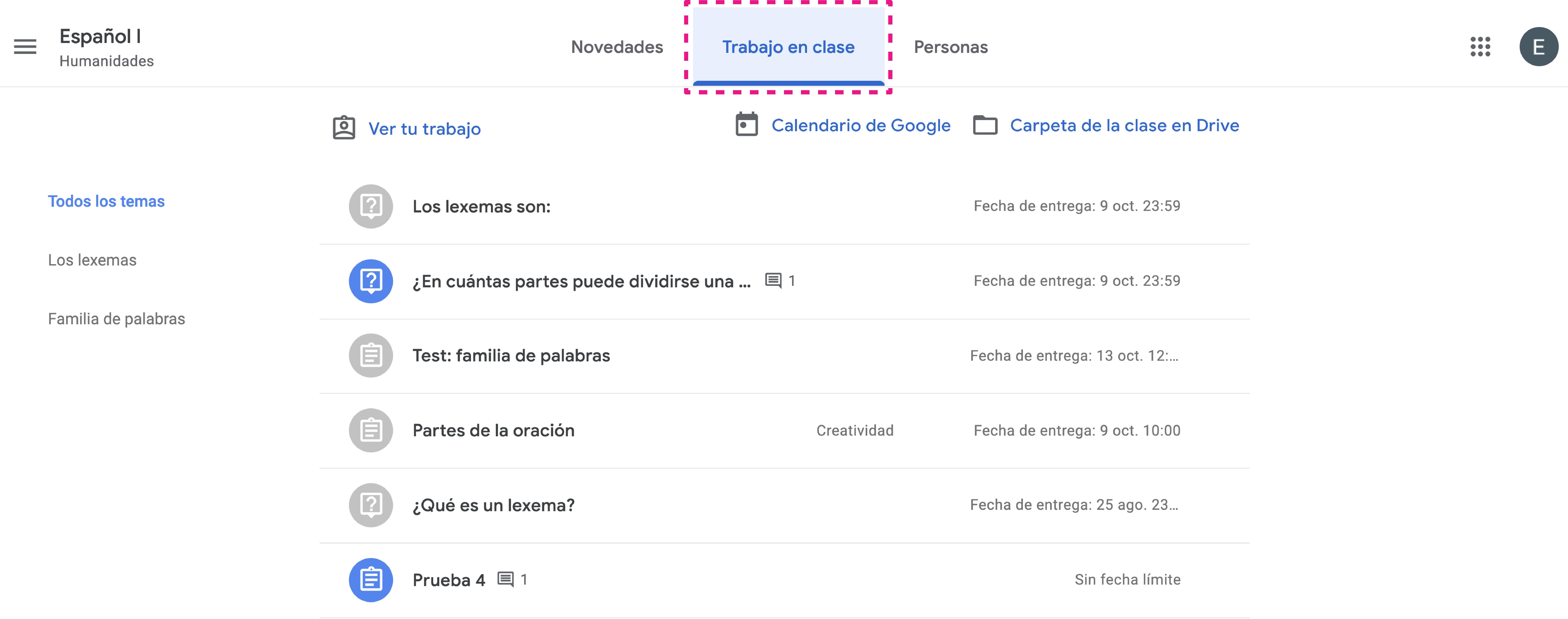 Abrir espacio Trabajo en Clase en Google Classroom