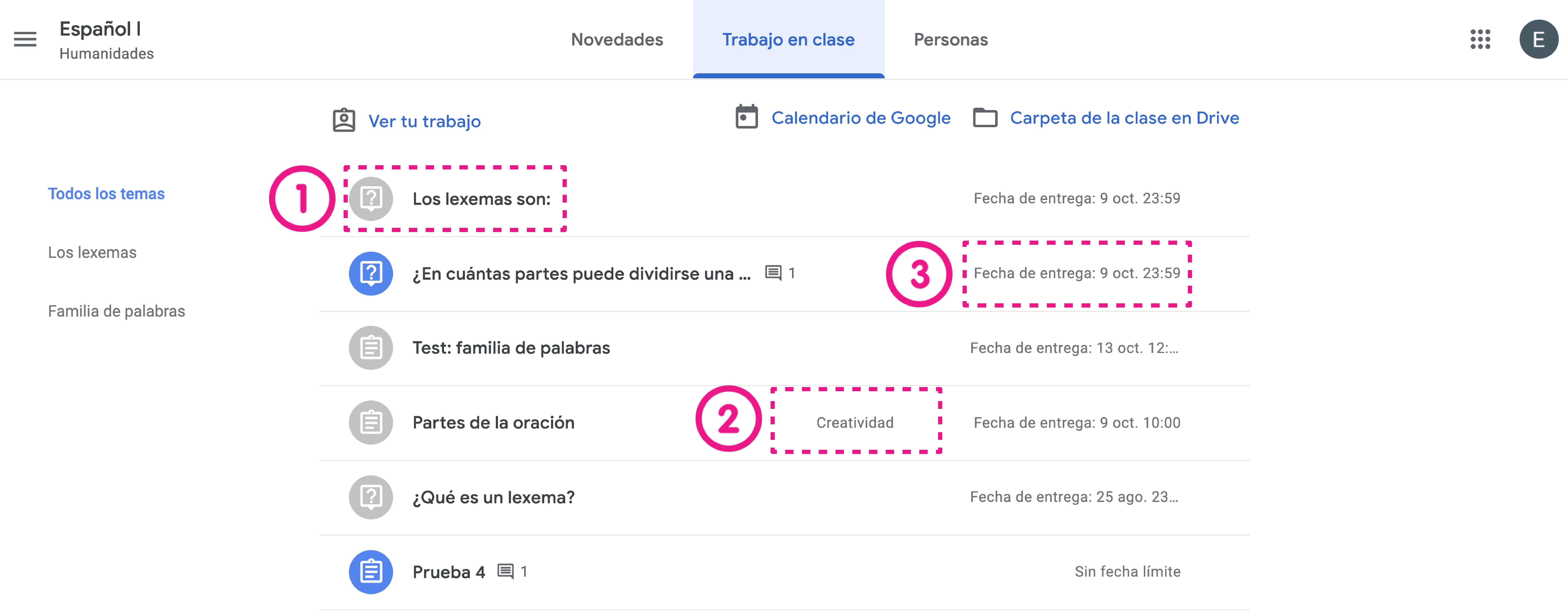 Vista de tareas en Google Classroom