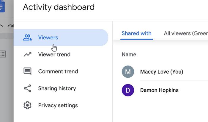 selecting viewers tab