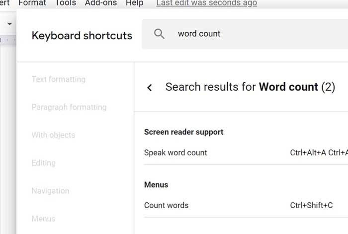 word count keyboard shortcut