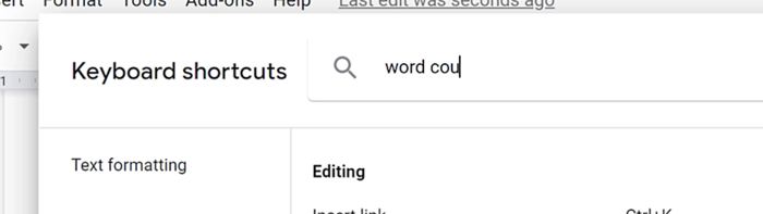 searching word count keyboard shortcut