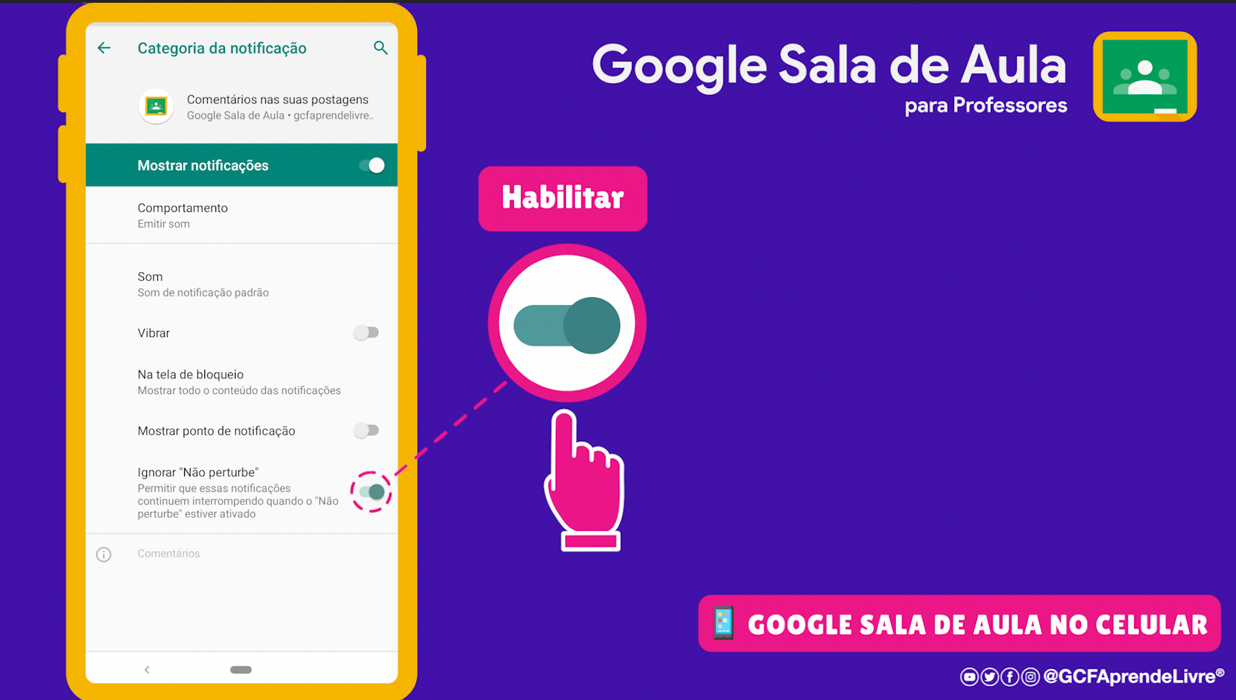 como ativar ou desativar as notificações do Google Sala de Aula 14