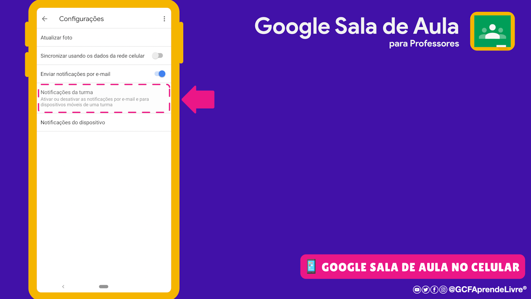 como ativar ou desativar as notificações do Google Sala de Aula 1