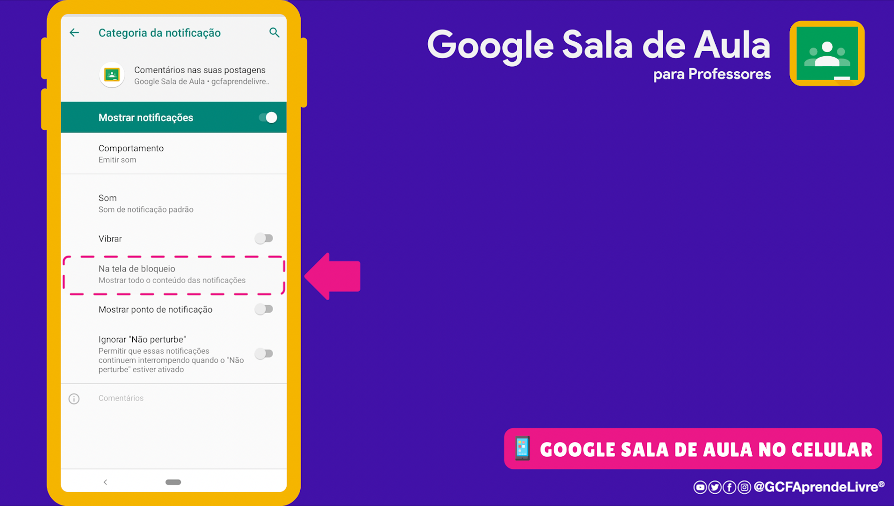 como ativar ou desativar as notificações do Google Sala de Aula 10