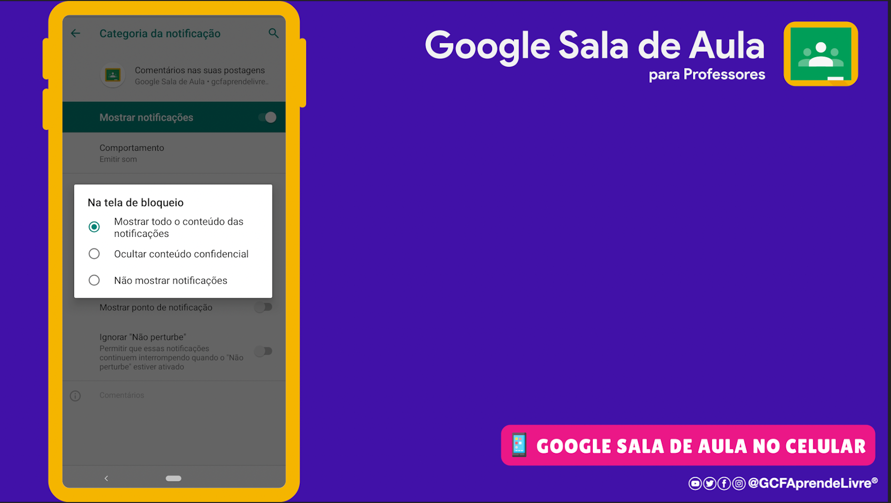 como ativar ou desativar as notificações do Google Sala de Aula 11