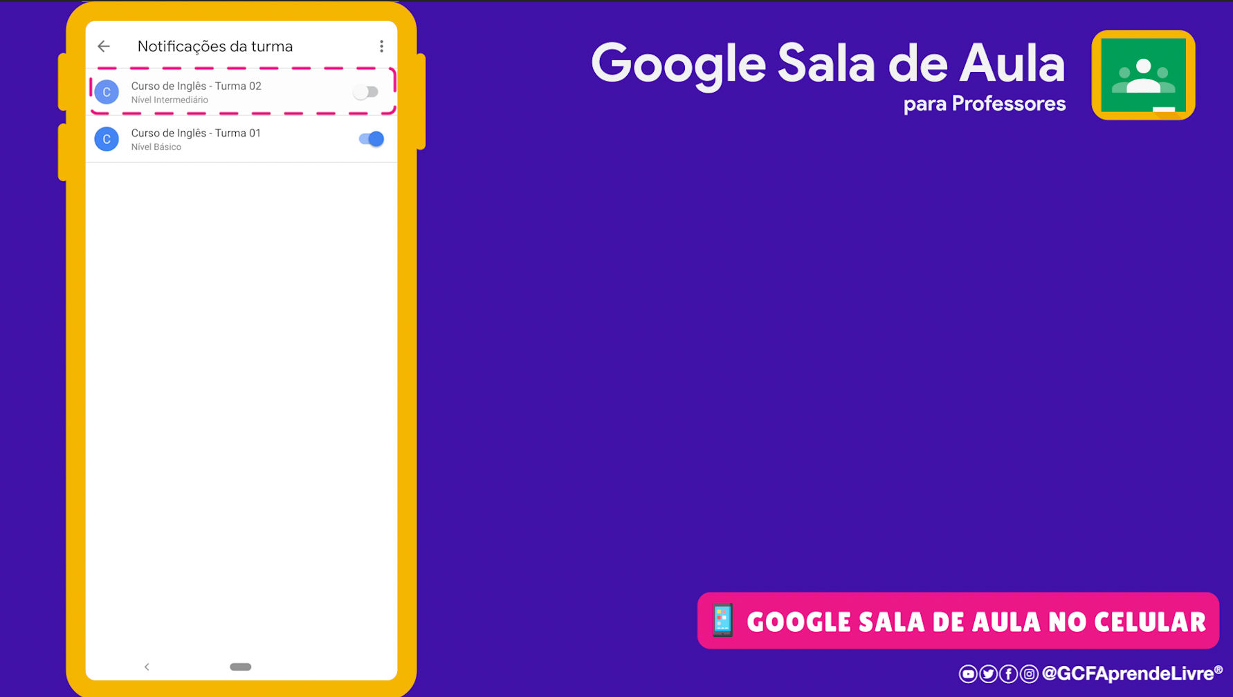 como ativar ou desativar as notificações do Google Sala de Aula 2