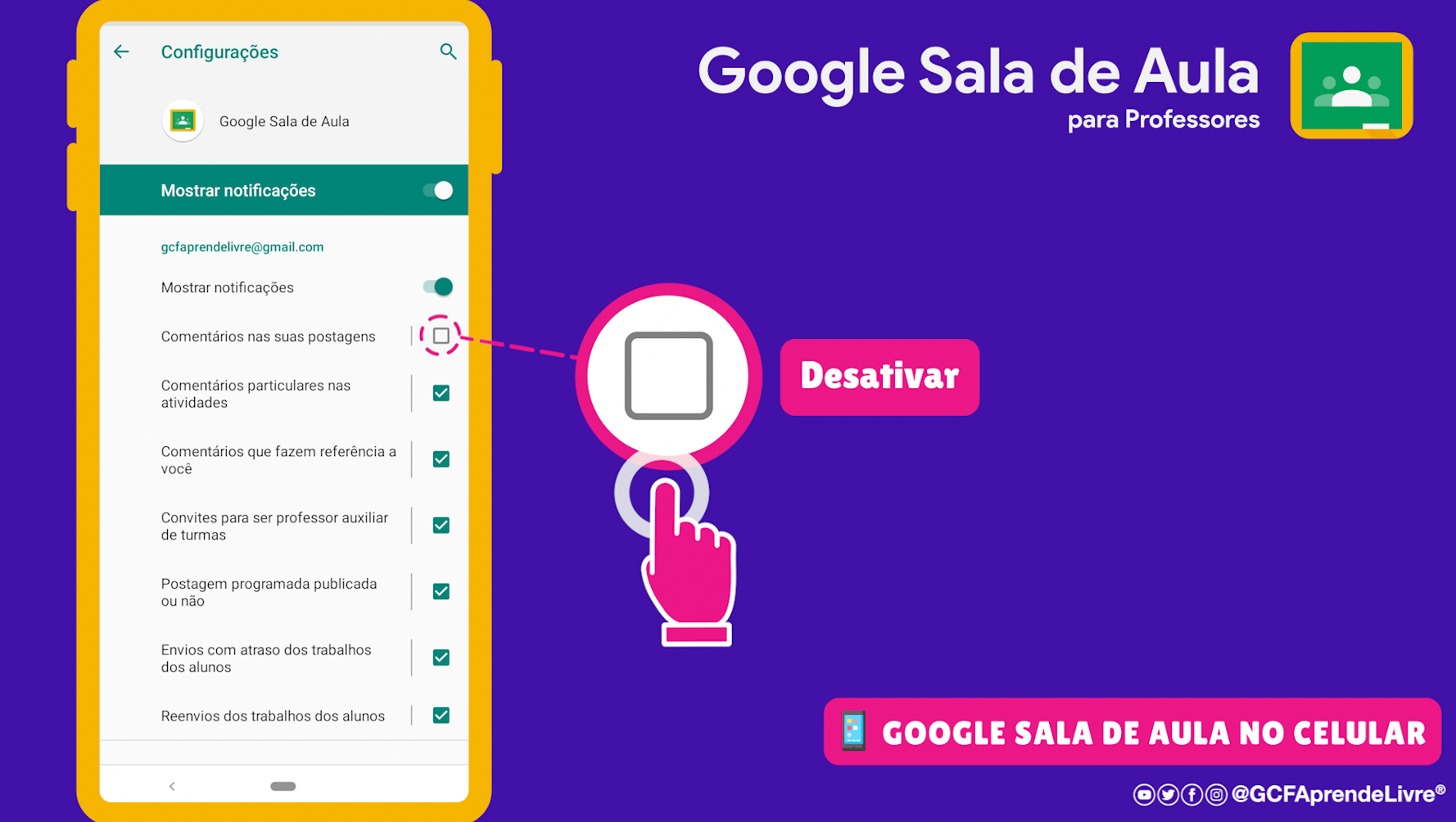 como ativar ou desativar as notificações do Google Sala de Aula 4