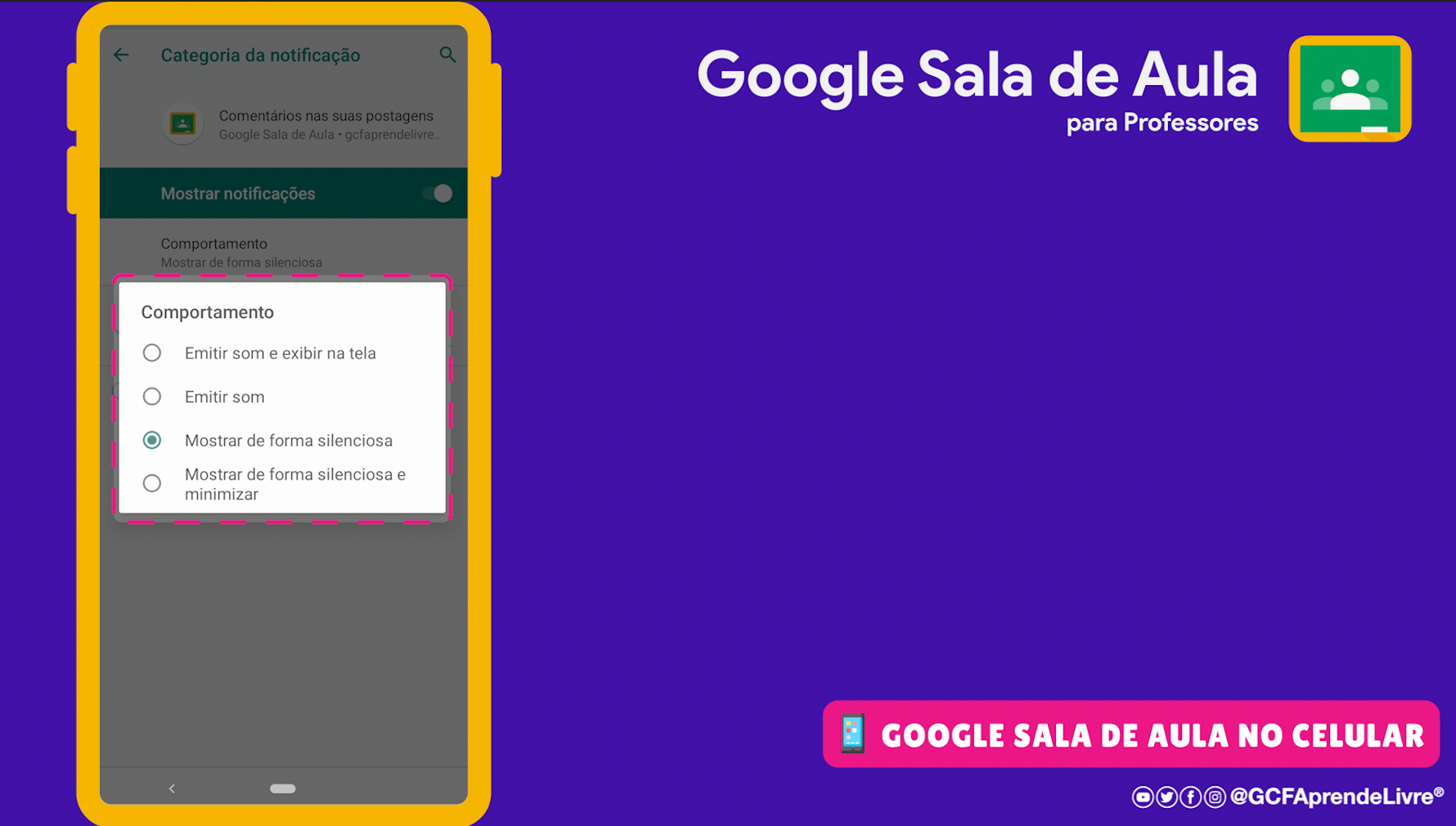 como ativar ou desativar as notificações do Google Sala de Aula 8