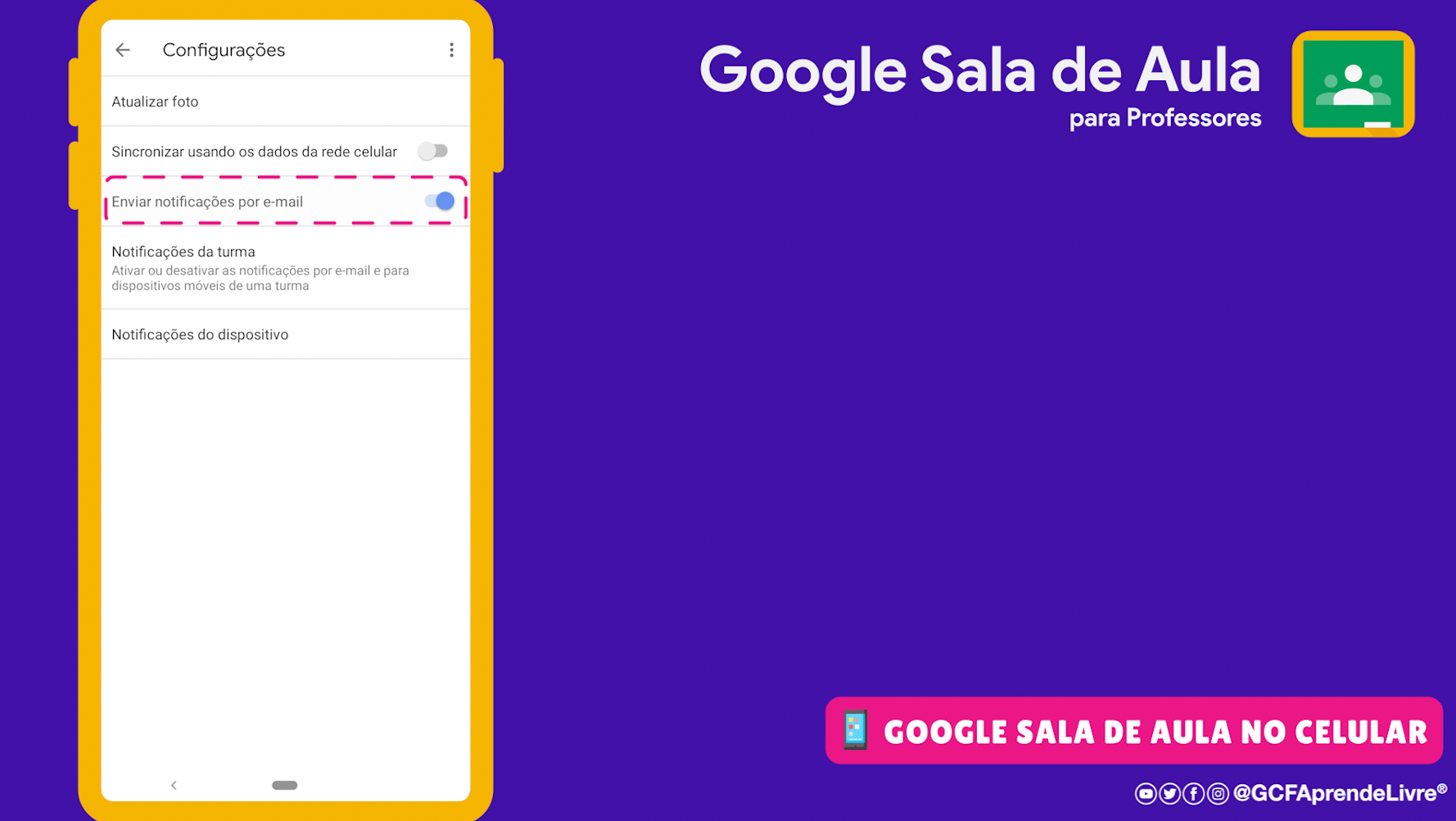 como ativar ou desativar as notificações por email do Google Sala de Aula