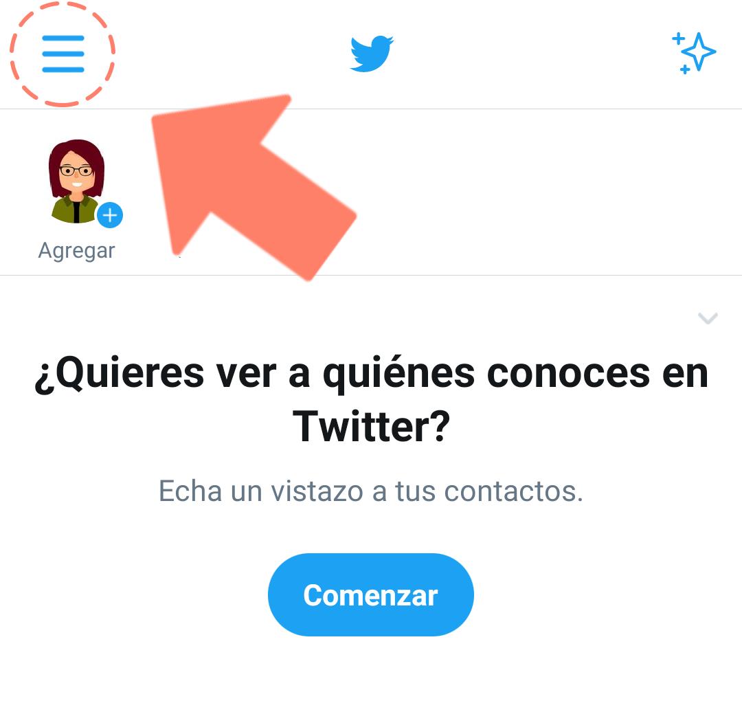 Seleccionar menú de opciones Twitter móviles