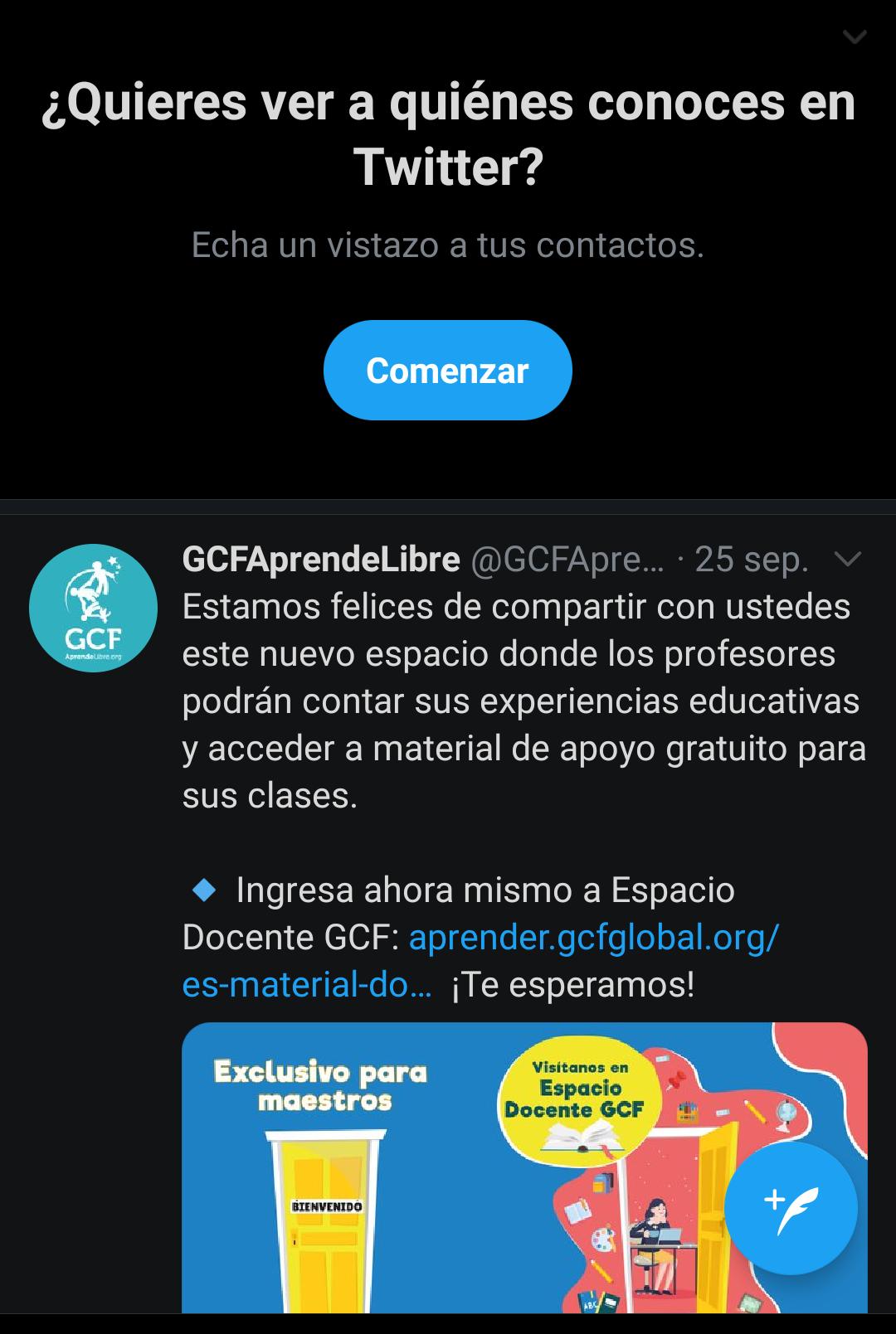 Apariencia modo oscuro noche oscura en Twitter para móviles.