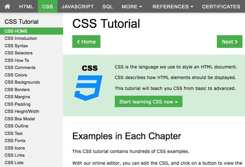 w3schools CSS tutorial