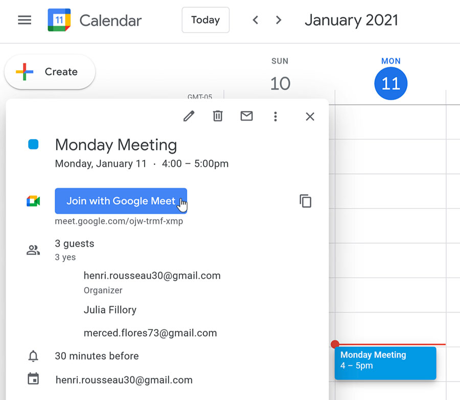 clicking the Join with Google Meet button in Google Calendar
