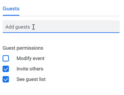 typing in the add guests field